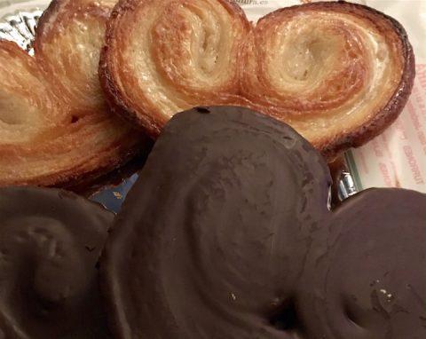 palmeras de chocolate y glaseada