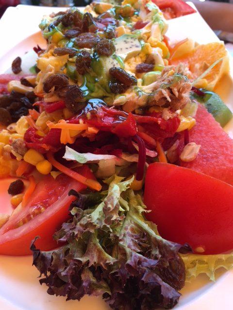 lechuga, tomate, atún, maíz, aguacate, remolacha, zanahoria, frutos secos, pasas, huevo duro, kiwi, sandia, naranja