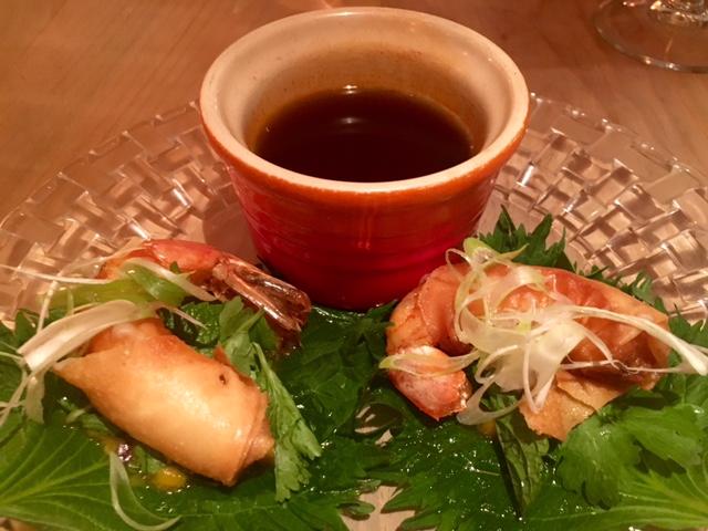 Gambas, Shisho y Mango con Salsa de Soja