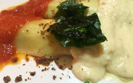 Canelones de pato asado a los tres quesos