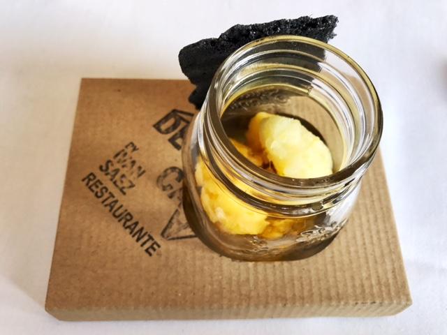 Sorbete de Mandarina y helado de Limón y crujiente de Palulu